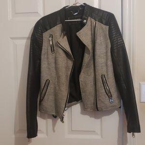 Biker Style Jacket. Faux leather shoulder+sleeves